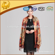 Novo Leopardo Digital Leopardo de Silhueta Pashmina Wrap Rose Shawl Impresso