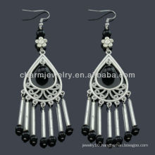 Hand Polish antique silver fashion Earrings with Jet Black stones SE-010
