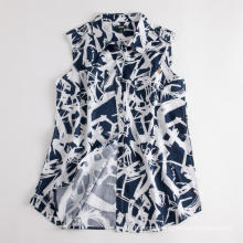 Eco-friendly Women Shirt Sleeveless Linen Printed Blouse