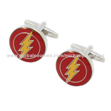 Brass Cufflinks with Red & Yellow Epoxy and Plating White Steel (Nickel-Free)
