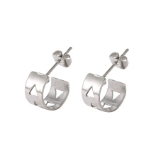 E-327 xuping vente simple dames en acier inoxydable conception creuse boucles d'oreilles