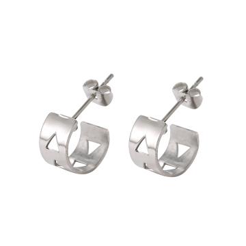 E-327 xuping vente simple dames en acier inoxydable conception creuse boucles d'oreilles