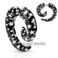 Star Logo Print Acrylique Faux Spirale Oreille Piercings