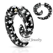 Star Logo Print Acrílico Falso Espiral Orelha Piercings