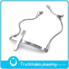 TKB-B0124 Wholesale silver jewelry adjustable snake chain rhinestone crucifix 316L stainless steel women bracelet