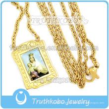 Collar de cadena de eslabones de oro de 18 quilates de oro de 18K de la Virgen María de la oración sencilla de joyería sencilla.