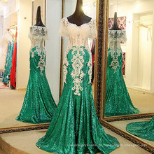 LS40409 Lantejoulas verdes vestido de dormir noite sexy grande bunda em fotos estilo espanhol capa de vestido de noite
