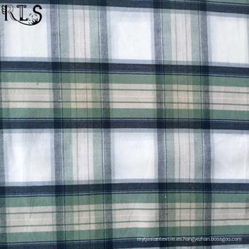 Tejido de popelín de algodón hilado teñido de tela para prendas de vestir camisas/vestido Rls40-1po