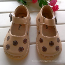 Apricot Polka Dots Squeaky Shoes Baby Girl Shoes
