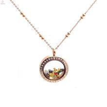 Mode Edelstahl Rose Gold schwimmende Medaillon Kugelkette