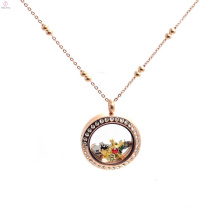Fashion stainless steel rose gold floating locket ball chain