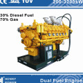 Generador de doble combustible de marca Honny (combustible diesel, combustible HFO, gas natural)