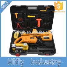 12V DC 2.5T (5500lb) Gato eléctrico para coche / Bomba infladora eléctrica / Llave de impacto eléctrica y Kit de herramienta de reparación de vehículo remoto inalámbrico