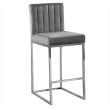 Metal velvet high bar counter stool chair modern with back