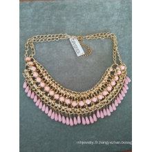 Pierres facettées & perle Multi ligne fileté collier