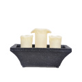 Table Fountain Candle 3pcs Rectangle