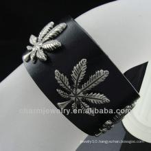 Hot sale 2013 Ganja Leaf charm Black Leather bracelet for men BGL-001