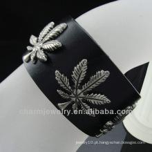 Pulseira de couro quente do preto do encanto da folha da venda 2013 Ganja para os homens BGL-001