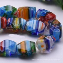 al por mayor hermosos granos cilíndricos millefiori de cristal de murano