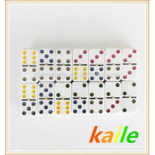 Colorful Dot Double 6 Domino High Light Pack In Tin box
