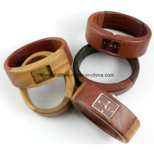 Custom Wooden Bracelet Watches Quartz Wood Bangle Ladies Watch