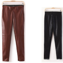 2015 mais recente moda outono skinny mulheres calças de couro