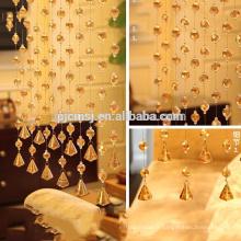 Vente chaude cristal or or champagne perles rideau suspendu cristal pour la décoration de la maison qui respecte l'environnement