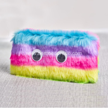 Plush Pencil bag with eyes and zipper closure