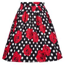 Grace Karin Retro Vintage 1950 en coton plissé imprimé floral jupe CL6294-25