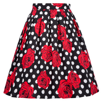 Grace Karin Retro Vintage 1950s Pleated Cotton Floral Print Skirt CL6294-25