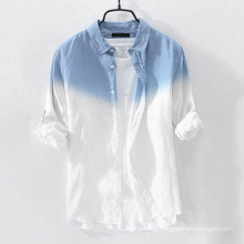 Men′s Shirt Fashion Cotton Hanging Dyed Gradient Button Chic Shirts