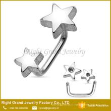 En gros Double Stars 316L en acier inoxydable chirurgical fileté externe anneau sourcil