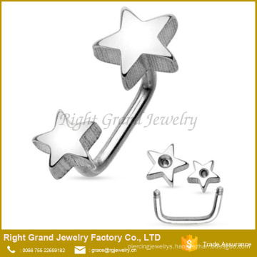 Wholesale Double Stars 316L Surgical Stainless Steel Externally Threaded Eyebrow Ring