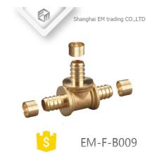 EM-F-B009 T de latón de 3 vías para tubo de latón