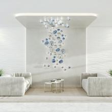 Dormitorio oficina colgante lámparas colgantes led de vidrio transparente