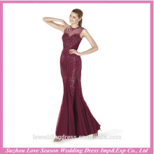 LE0003 2016 novo estilo scoop decote shinny frisado lantejoulas sheer top tulle sereia long arabian baile de formatura vestidos vermelhos de baile de finalistas