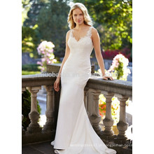 NA1011 Mermaid V-neck Sweep Train Appliqued Lace Wedding Dress