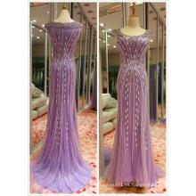 Púrpura venta superior UE 32-40 pesado vestido de noche de rebordear