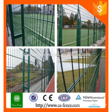 Green vinyl coated welded wire mesh fence, double wire mesh fence