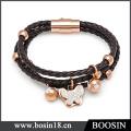 Высокое качество мужские украшения наручные кожаный браслет с магнитной застежкой