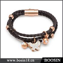 Bracelet en cuir de poignet de haute qualité pour homme avec boucle magnétique