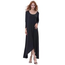 Kate Kasin Womens Casual Loose Langarm-Rundhals Schwarz Unregelmäßiges Hem Kleid KK000711-1