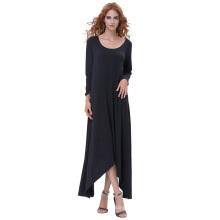 Kate Kasin Womens Casual Loose Long Sleeve Crew Neck Black Irregular Hem Dress KK000711-1