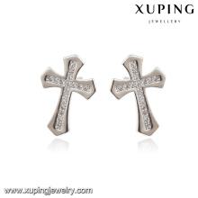 E-169 Xuping Fashion Rhodium Elegant CZ Diamond Imitación Pendiente de la joyería con Cruz