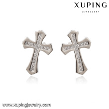 E-169 Xuping Fashion Rhodium Elegant CZ Diamond Imitation Jewelry Earring with Cross