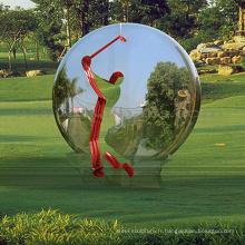 sculptures en plein air chinois métal artisanat miroir balle sculpture
