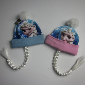 Frozen Sublimation Print Fleece Hat With Braid