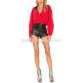 Красные женские толстовки футболки мода молнии с длинным рукавом T-рубашка