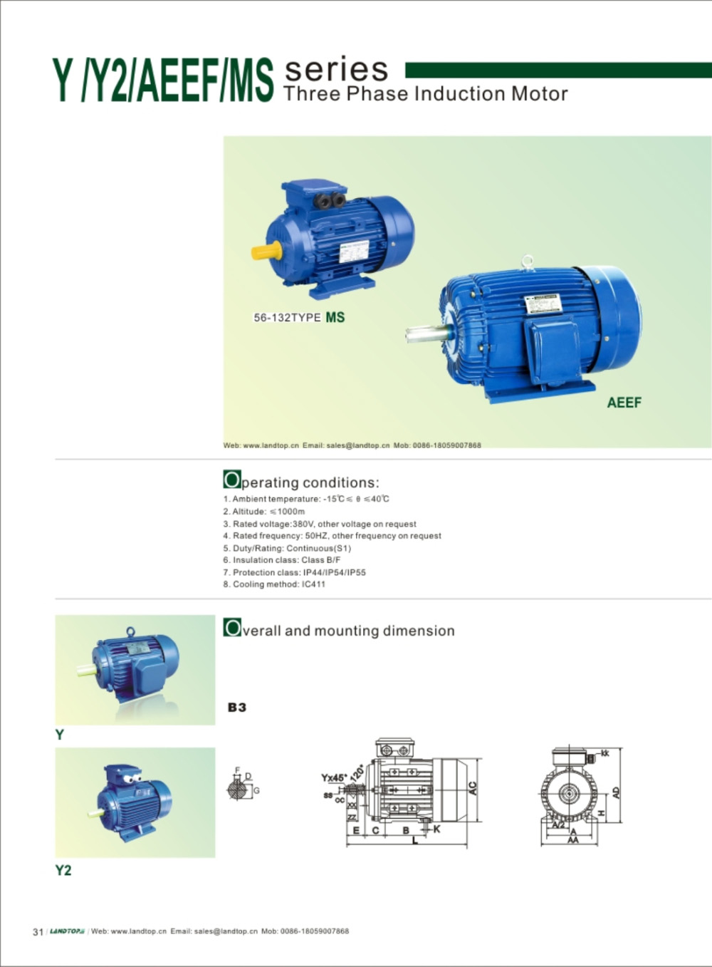 Aluminum housing three phase motor