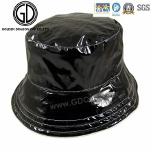 Fashion Trendy Patent Leather Black Cool Bucket Hat